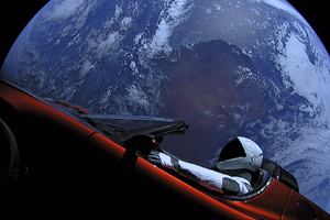 Tesla Roadster In Space With Space Suit Man Wallpaper