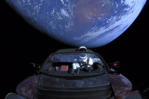 Tesla Roadster Into Space With Space Suit Man Wallpaper