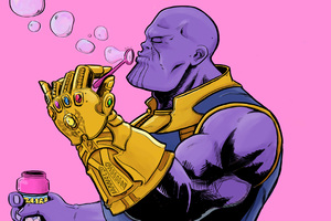 Thanos Blowing Bubbles Wallpaper