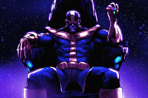 Thanos On His Throne Wallpaper