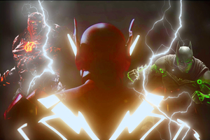 The Injustice 2 Battle With Batman And Atrocitus Wallpaper