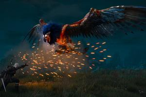 The Witcher 3 Royal Griffin Blue 4k