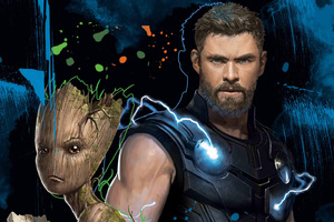 Thor And Groot 4k