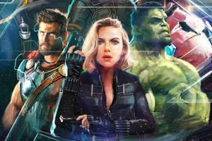 Thor Black Widow Hulk In Avengers Infinity War Artwork 2018