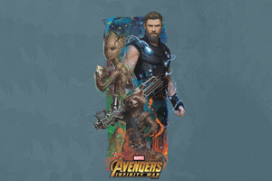 Thor Rocket Groot Avengers Infinity War Artwork