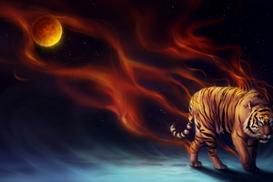 Tiger Fantasy Magical Flame 4k Wallpaper