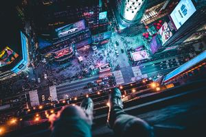 Time Square Aerial View Man Siting At Top 5k Wallpaper