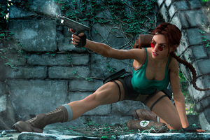 Tomb Raider Firing Art Wallpaper