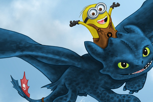 Toothless And Minion Wallpaper