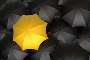 Umbrella Monochrome Yellow Digital Art 5k Wallpaper