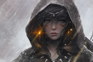 Warrior Girl Hood Artwork