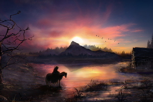 Warrior On Horse Sunrise Nature Fantasy 4k