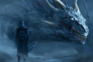 White Dragon Of Night King Wallpaper