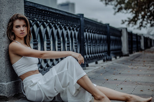 White Dress Girl Sitting Wallpaper