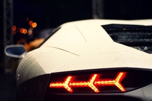 White Lamborghini Aventador Rear Wallpaper