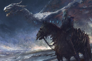 White Walker And Dragon Wallpaper
