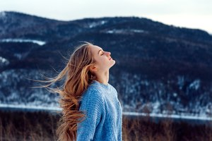 Windy Weather Snow Closed Eyes Girl Wallpaper