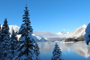 Winter Snow Lake Mountain