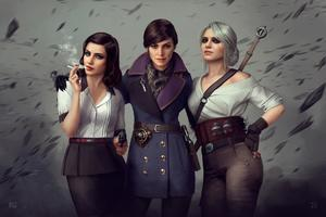 Witcher Assassins Bioshock Girls Crossover Wallpaper
