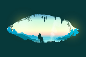 Wolf Cave Vector Wallpaper