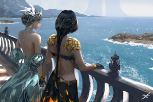 Women Standing At Balcony Looking Sea Digital Art Fantasy Girls Wallpaper