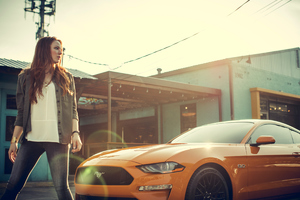 Women With Ford Mustang Wallpaper