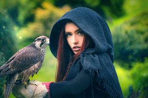 Women With Owl Wallpaper