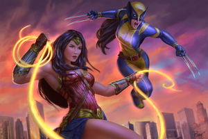 Wonder Woman And X23 Artwork Wallpaper