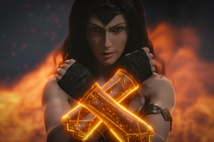 Wonder Woman Arms Closed Art Wallpaper