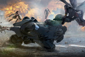 Wonder Woman Saving Batobile From Parademons Artwork Wallpaper