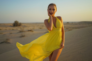 Yellow Dress Girl In Outdoors Sand