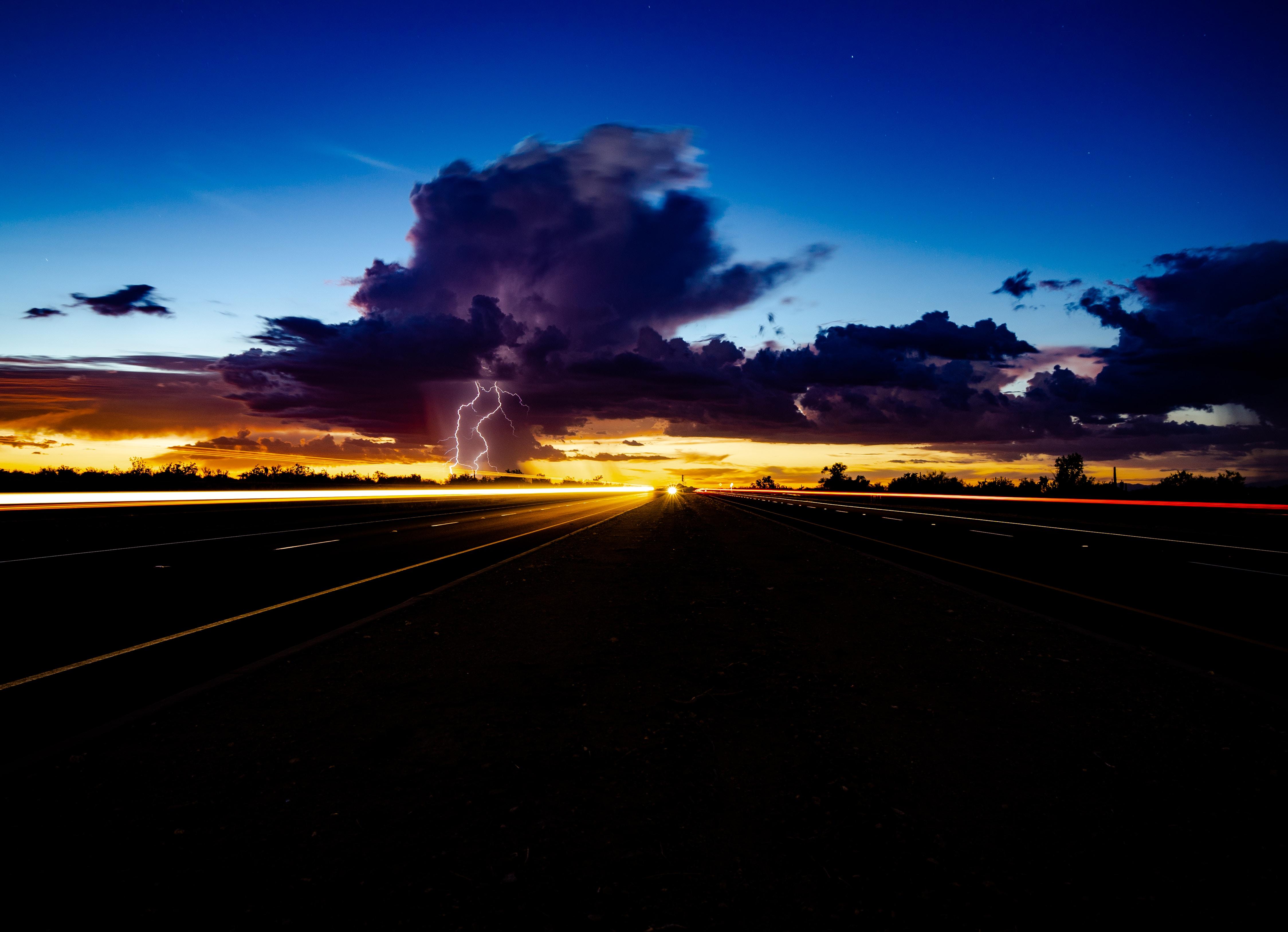 Thunder storm lightning highway light trails 5k hd nature 4k wallpapers images backgrounds - Lightning wallpaper 4k ...