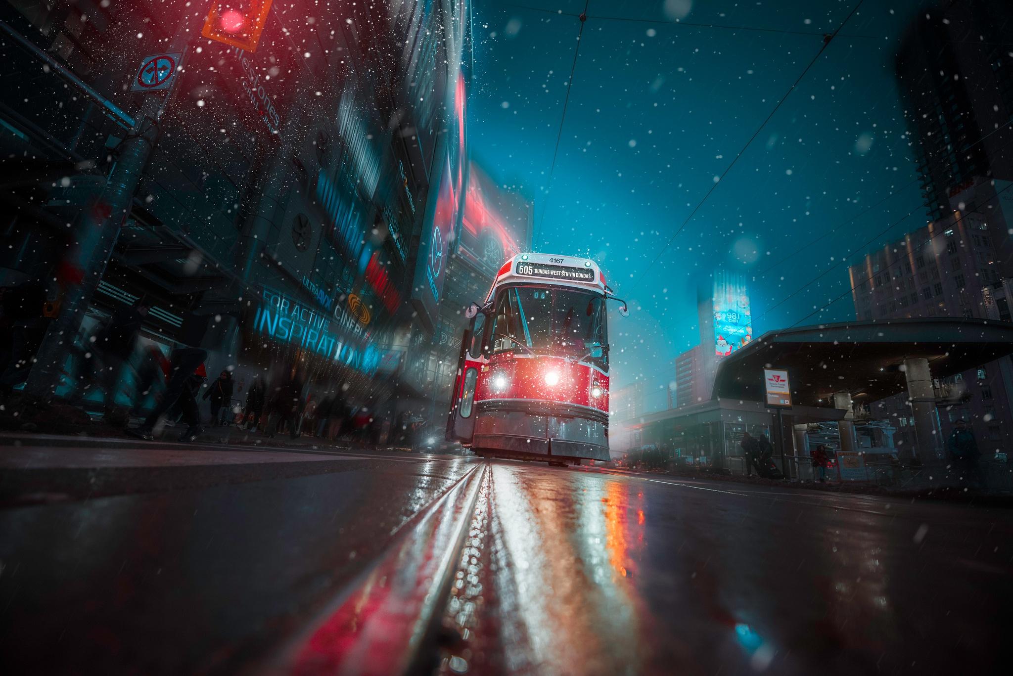 1125x2436 Toronto Tram Vehicle City Night Lights Iphone Xs