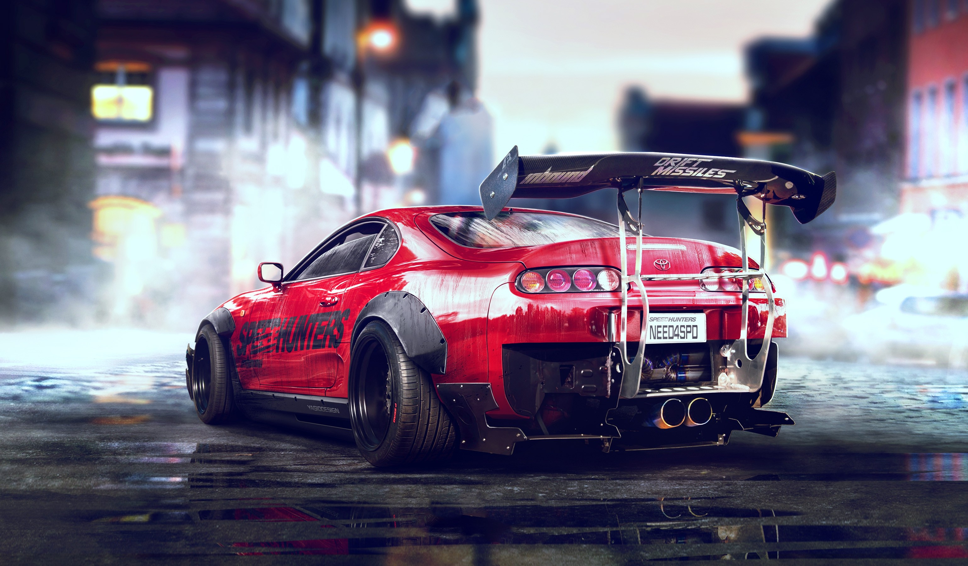 Wallpaper Toyota Supra Custom Drift Neon lights HD K