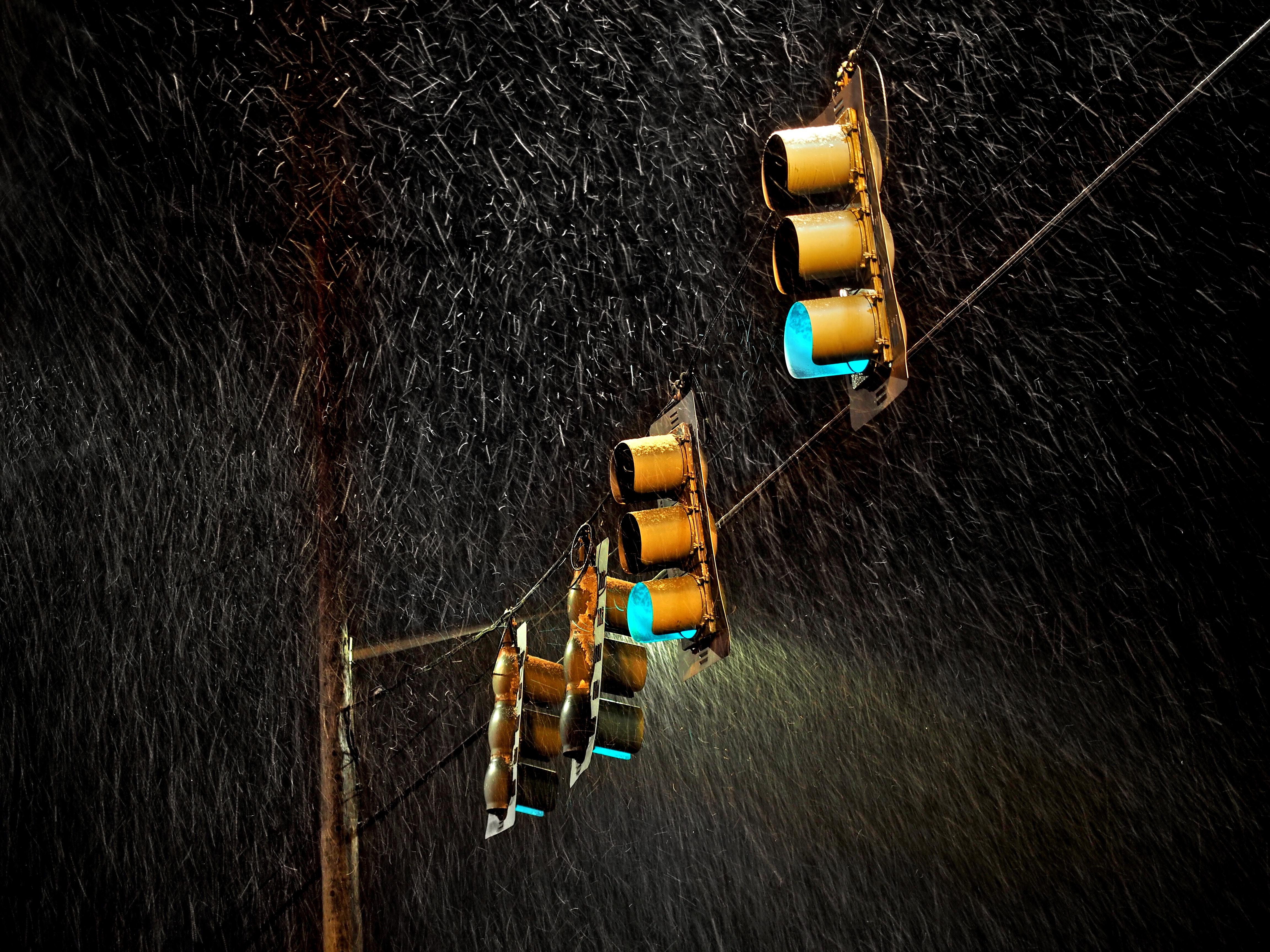 Traffic Lights Night Rain 5k, HD Photography, 4k