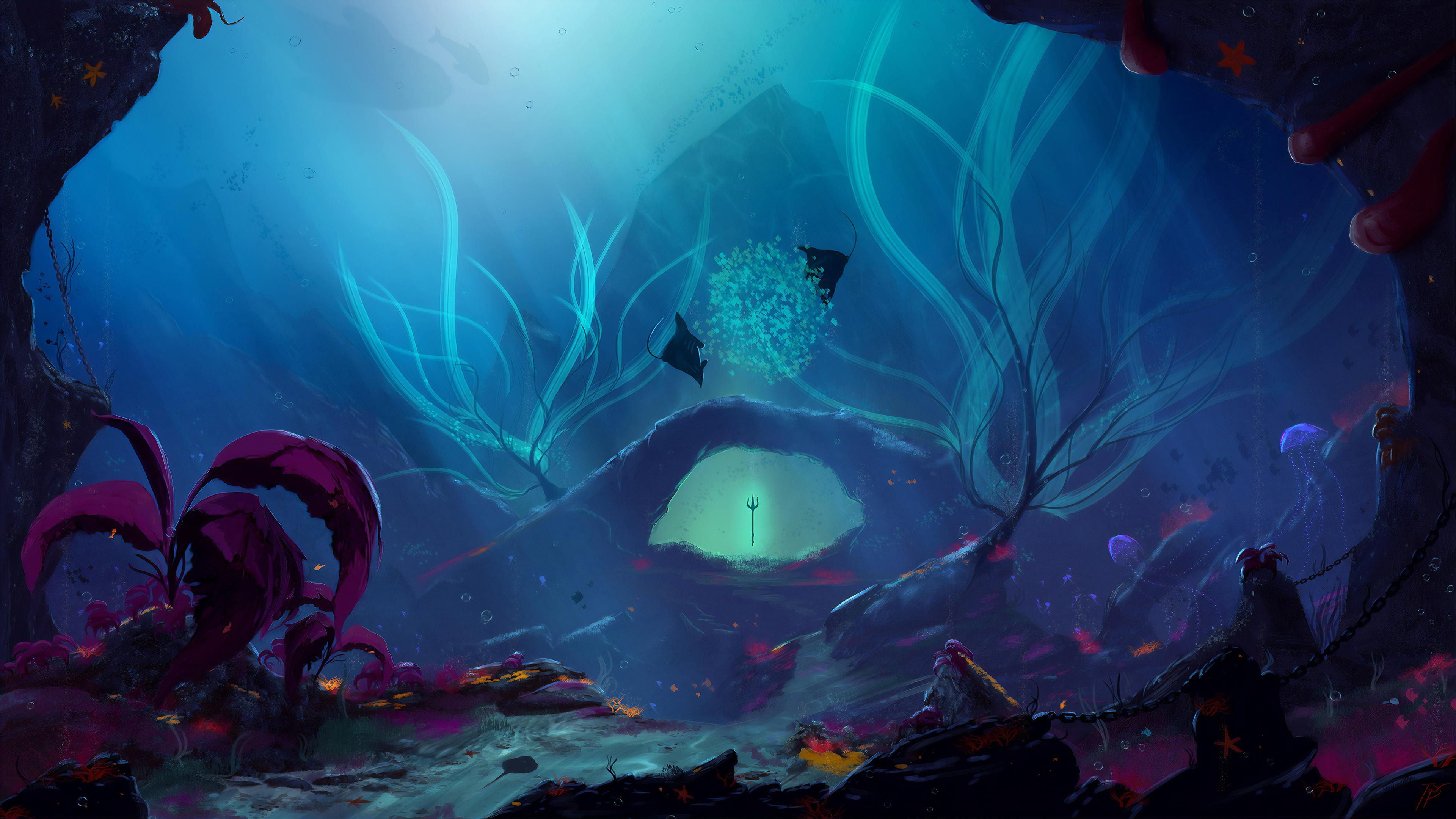 Trident Underwater 4k Hd Artist 4k Wallpapers Images