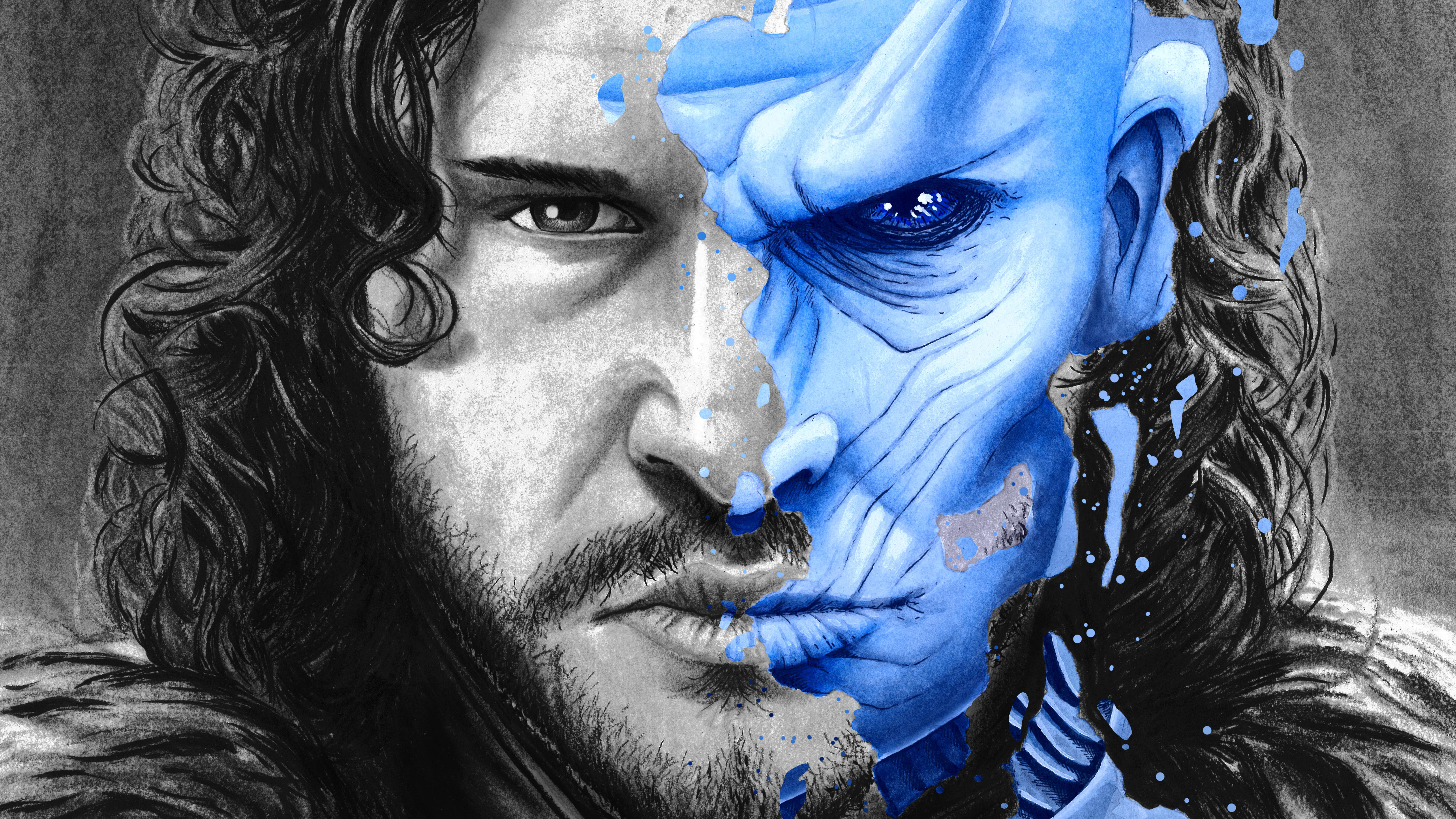 1366x768 Two Face Jon Snow White Walker Splatter Portrait 5k