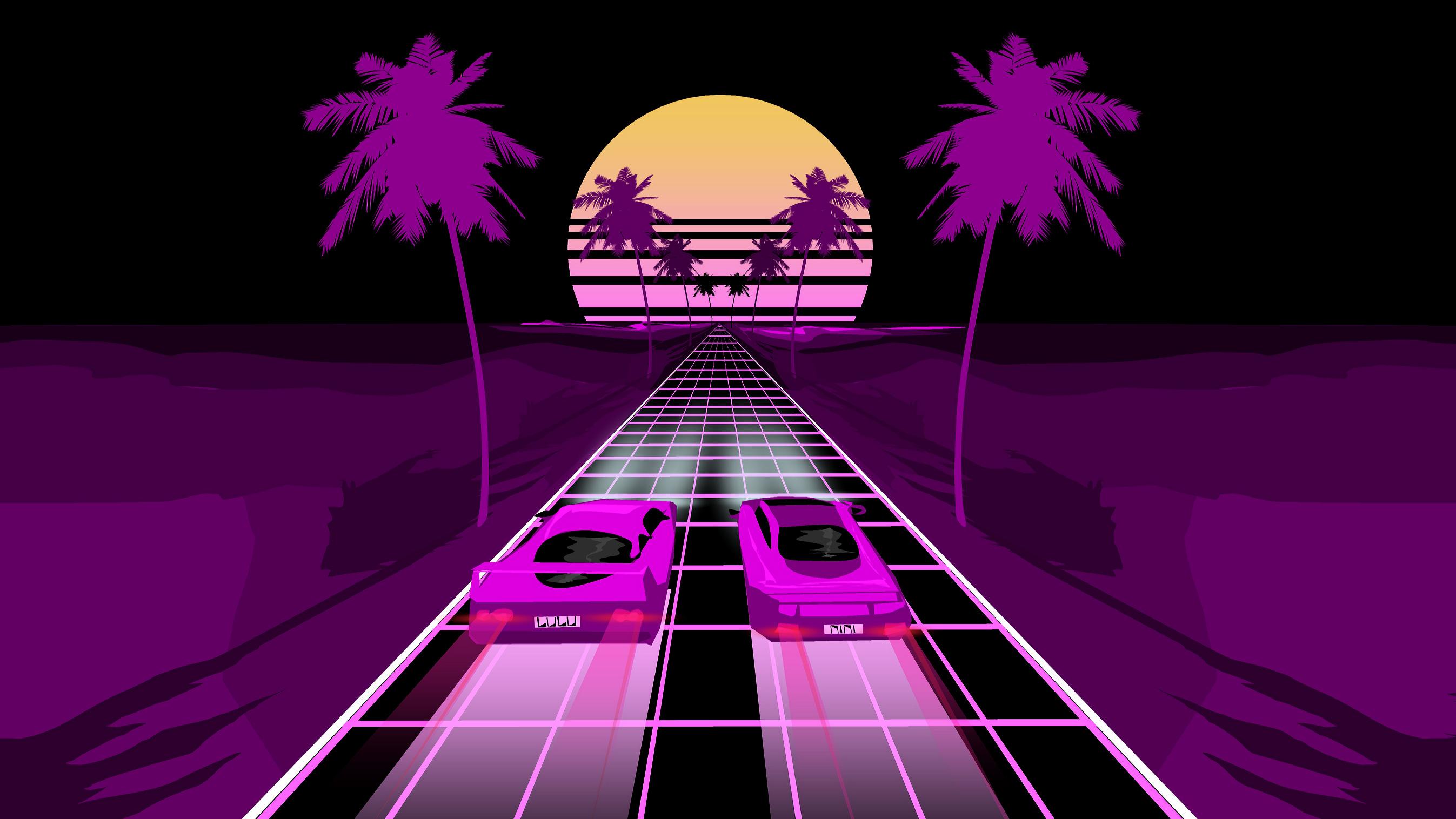 Two Sports Car Retrowave Art, HD Artist, 4k Wallpapers ...