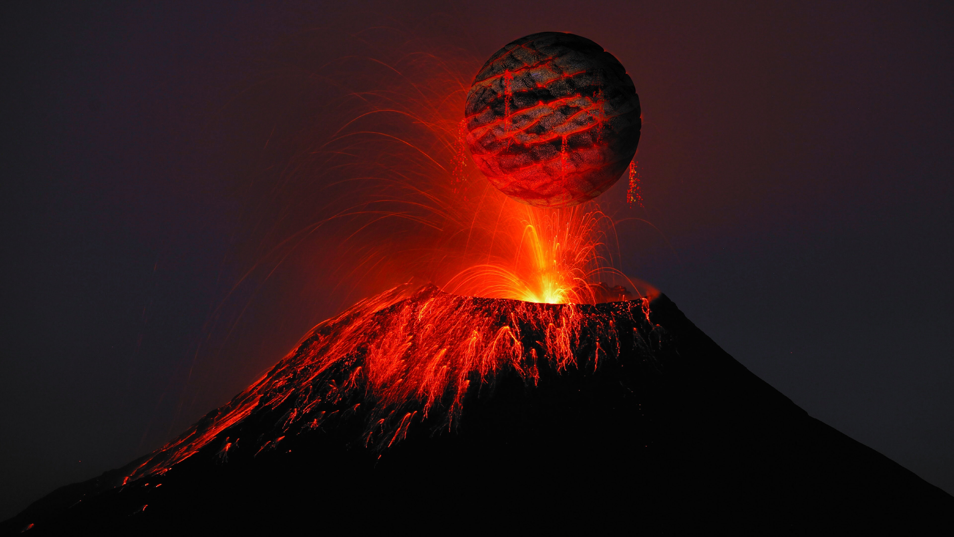 Volcano Lava 4k HD Nature Wallpapers Images Backgrounds