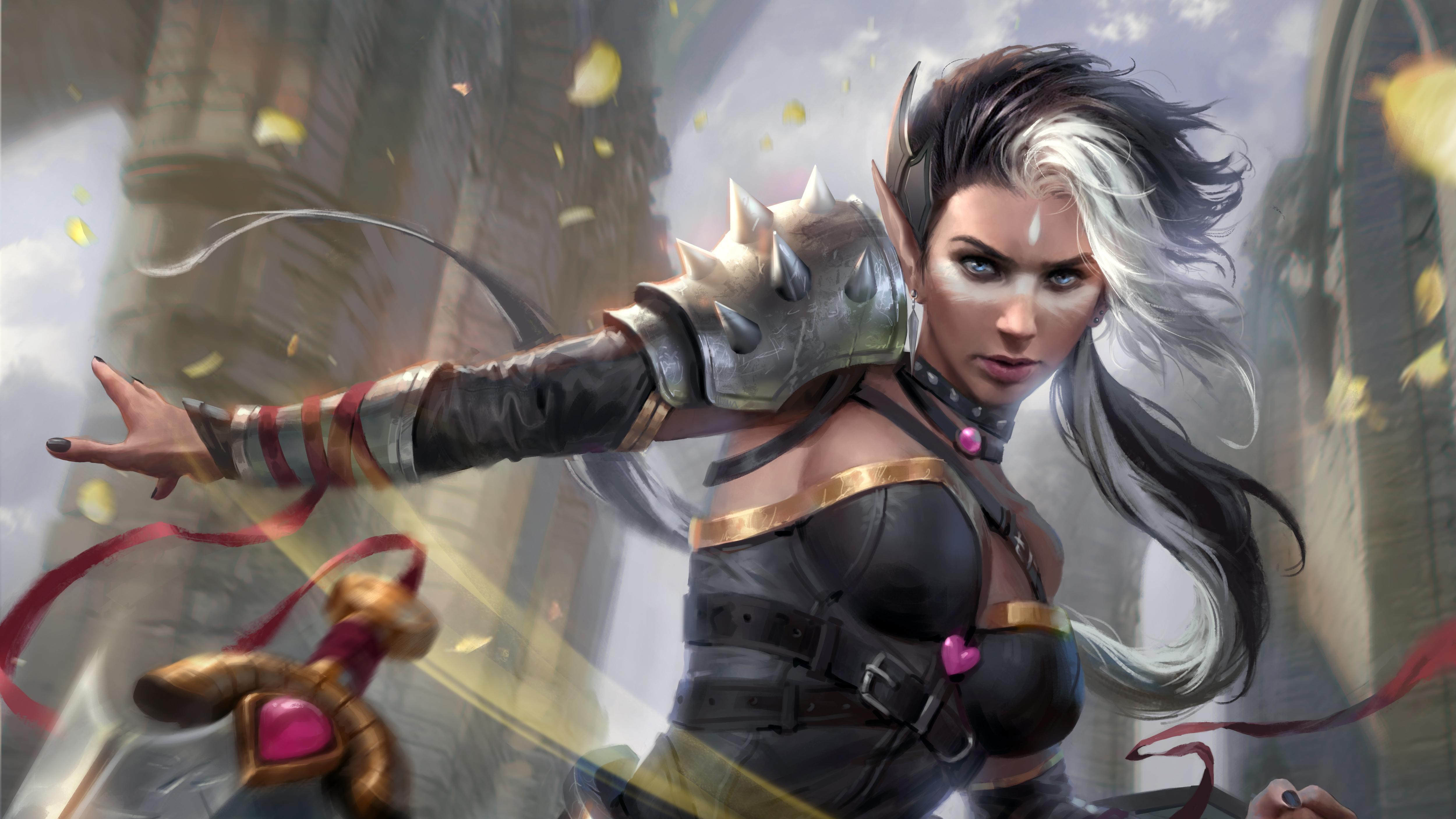2560x1600 Redhead Fantasy Warrior Girl With Sword 4k 2560x1600 Resolution HD 4k Wallpapers