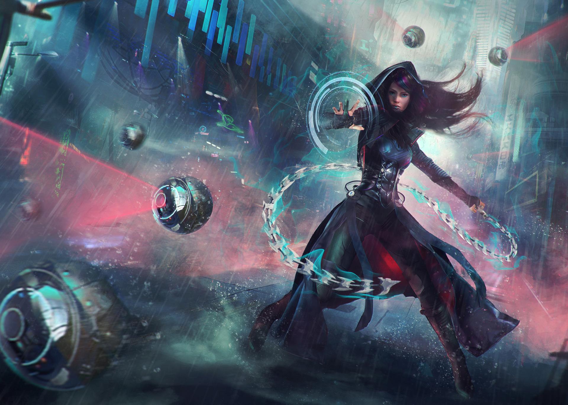 Women Warrior Artwork Sword Rain Cyberpunk Cyberpunk: 2048x1152 Warrior Girl Sci Fi Cyberpunk Futuristic Artwork
