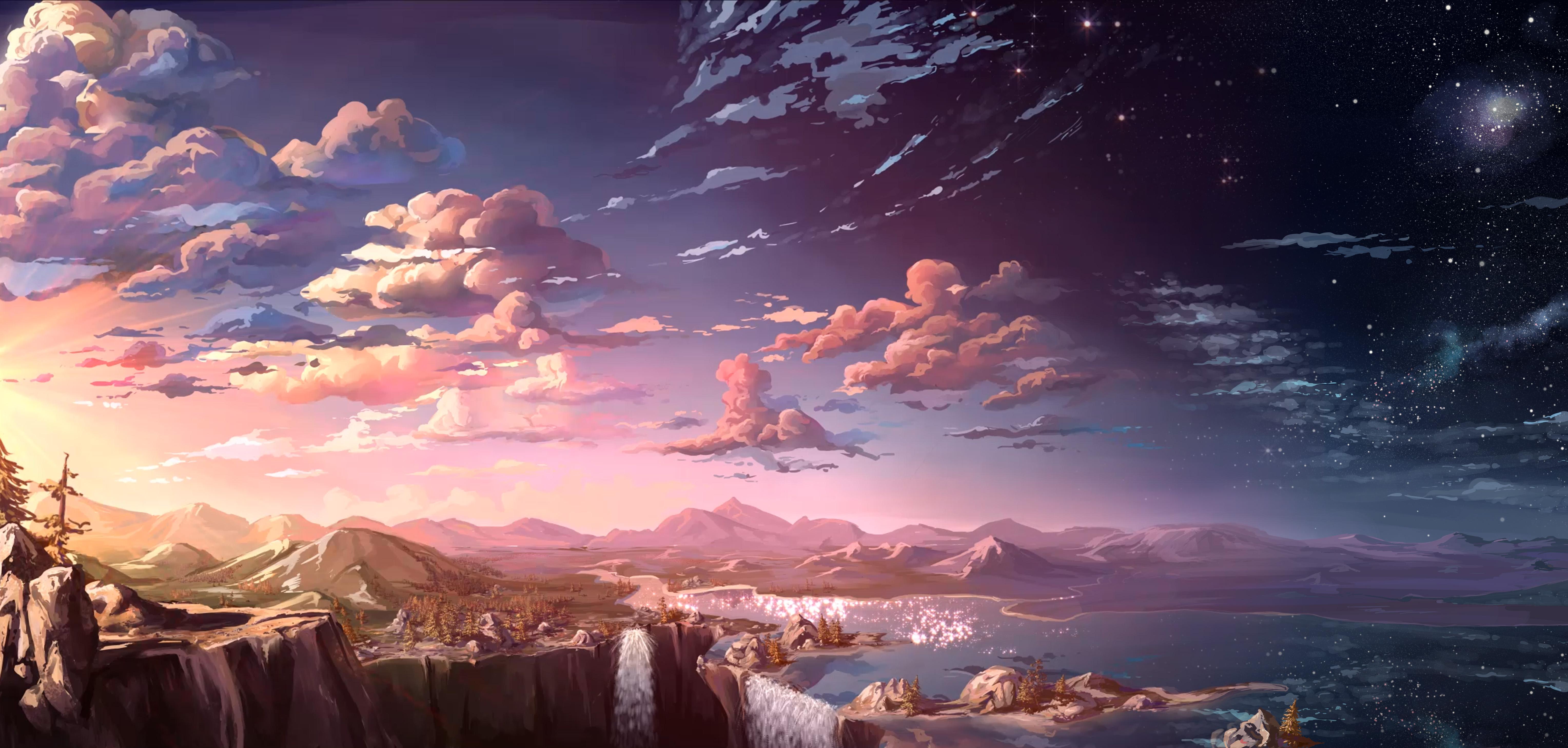 2048x2048 Serene Sunset Ipad Air Hd 4k Wallpapers Images: 2048x2048 Waterfall Sunset Landscape Artist Ipad Air HD 4k