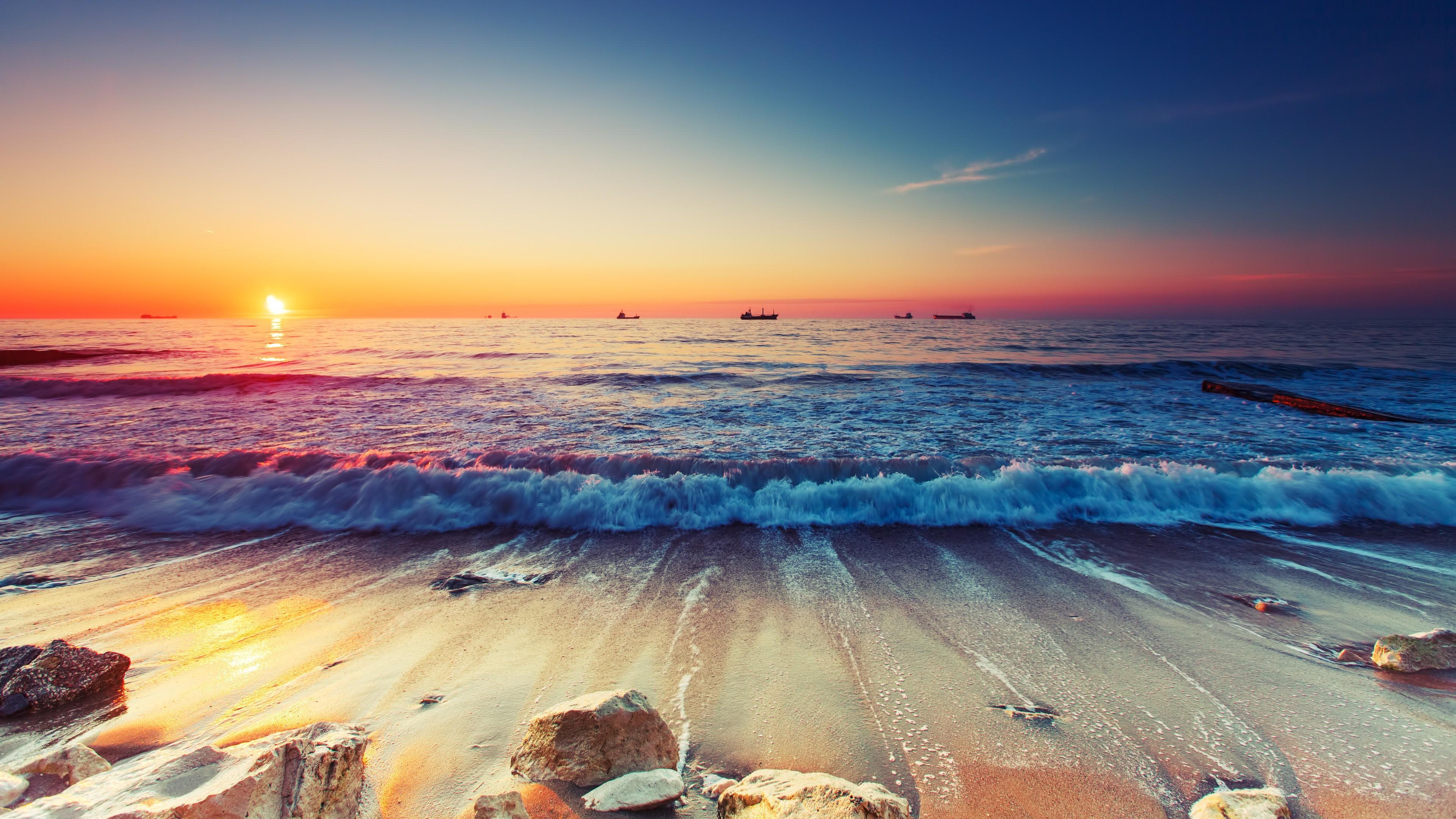 Summer Beach Scene 4k Hd Desktop Wallpaper For 4k Ultra Hd: Waves, HD Nature, 4k Wallpapers, Images, Backgrounds