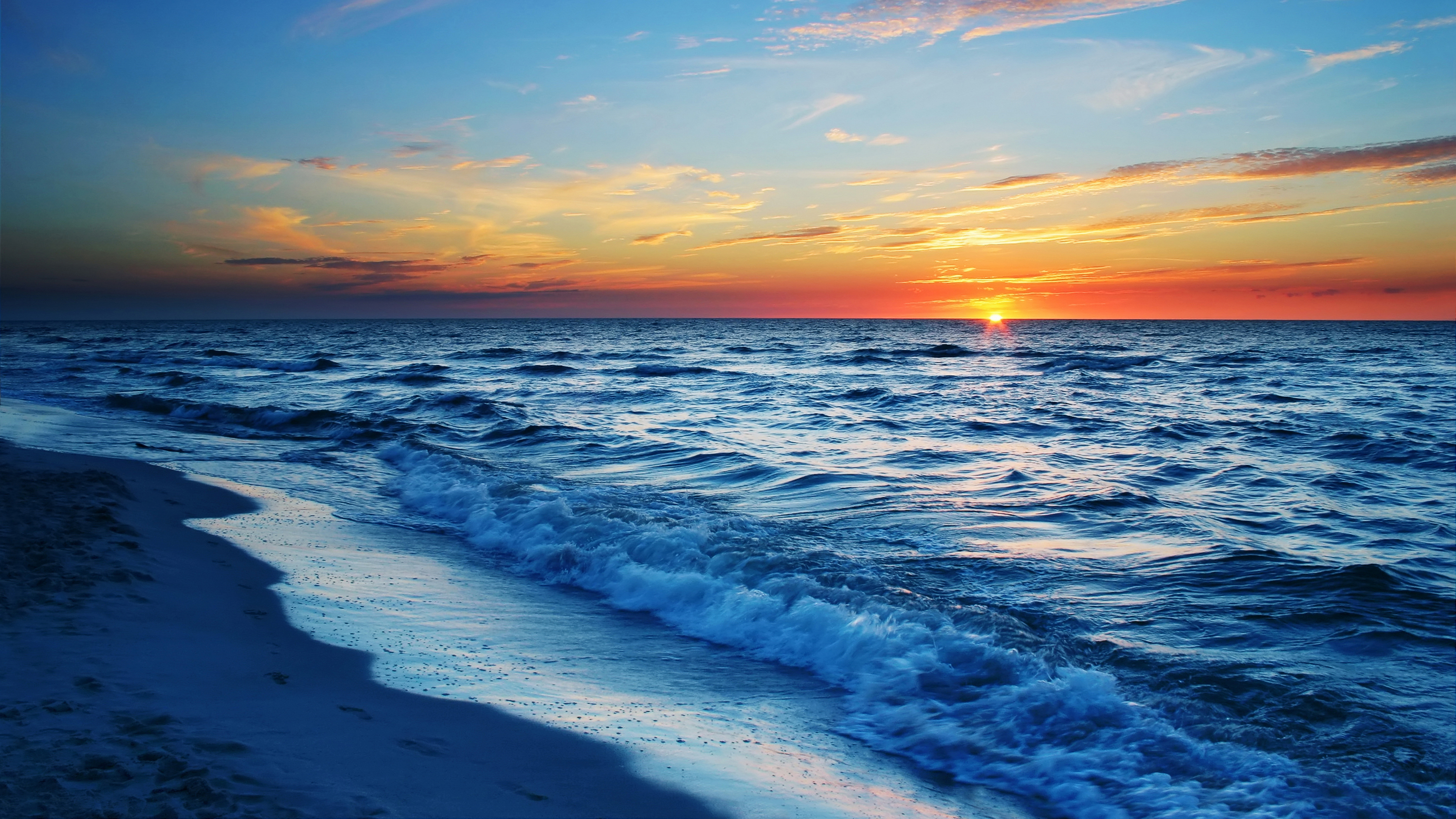 waves sea calm sunset hd nature 4k wallpapers images backgrounds