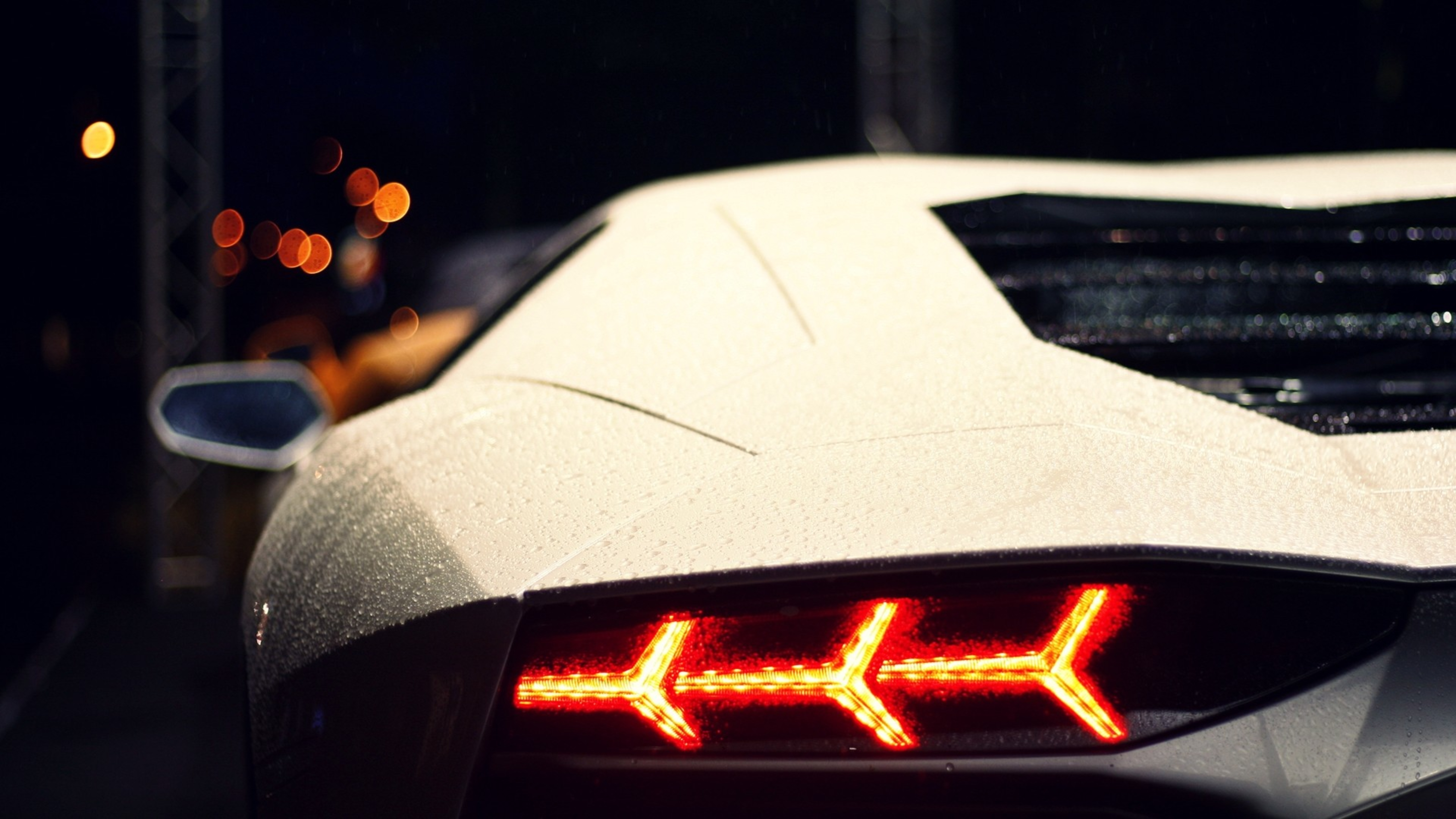 White Lamborghini Aventador Rear
