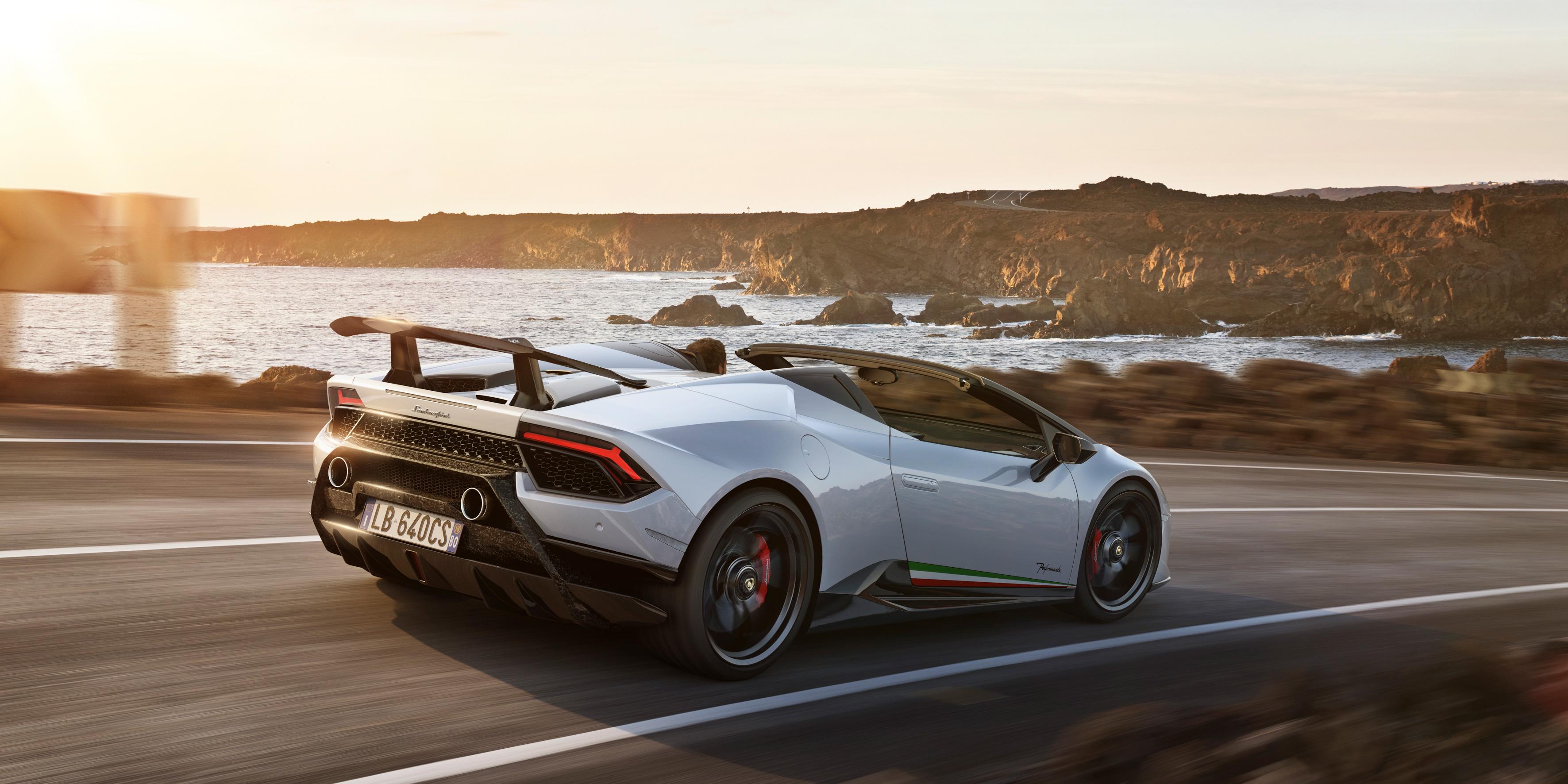 White Lamborghini Huracan Perfomante Spyder Rear 2018 Hd Cars 4k