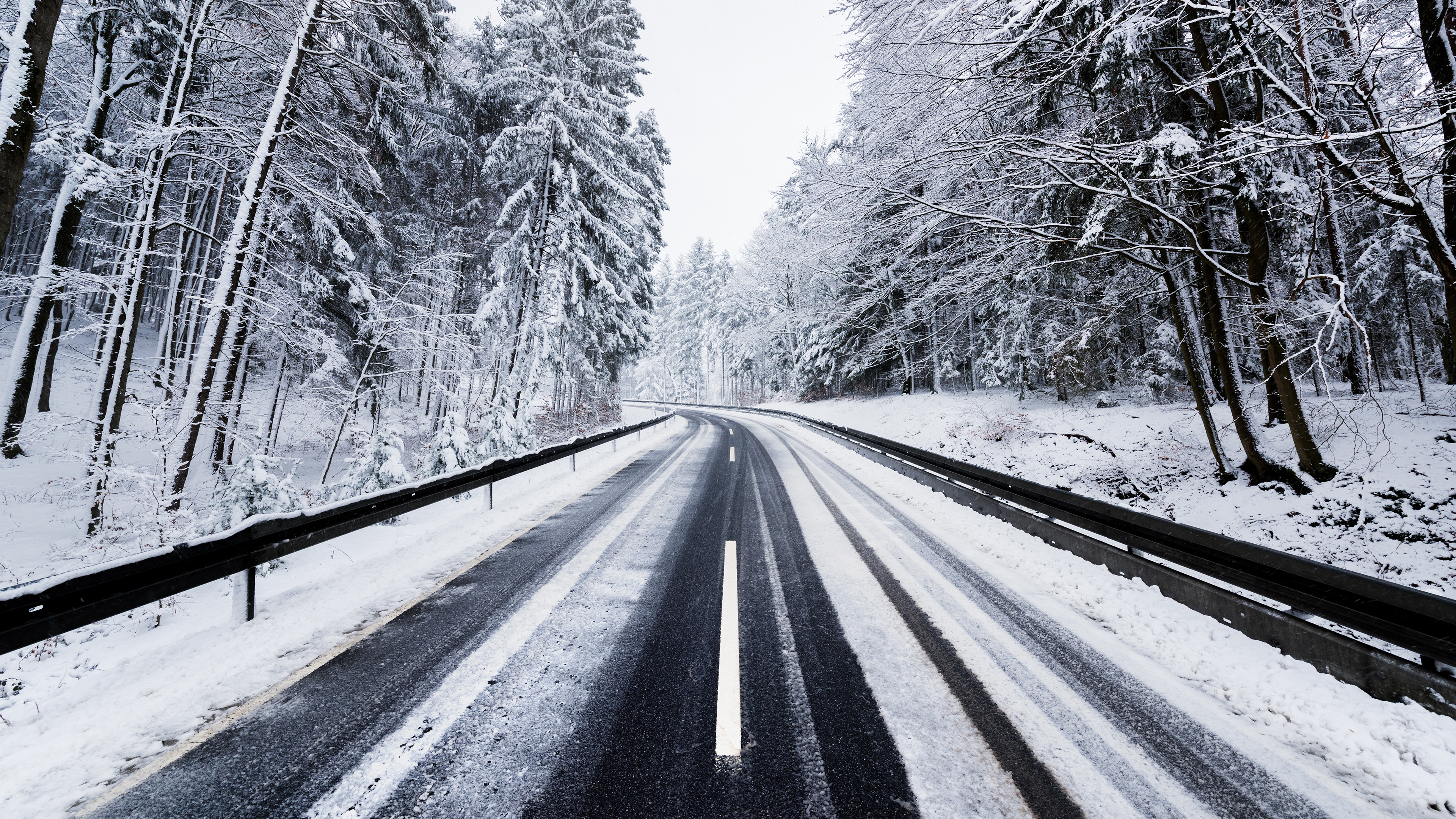 Winter Road Trees Nature 4k, HD Nature, 4k Wallpapers ...