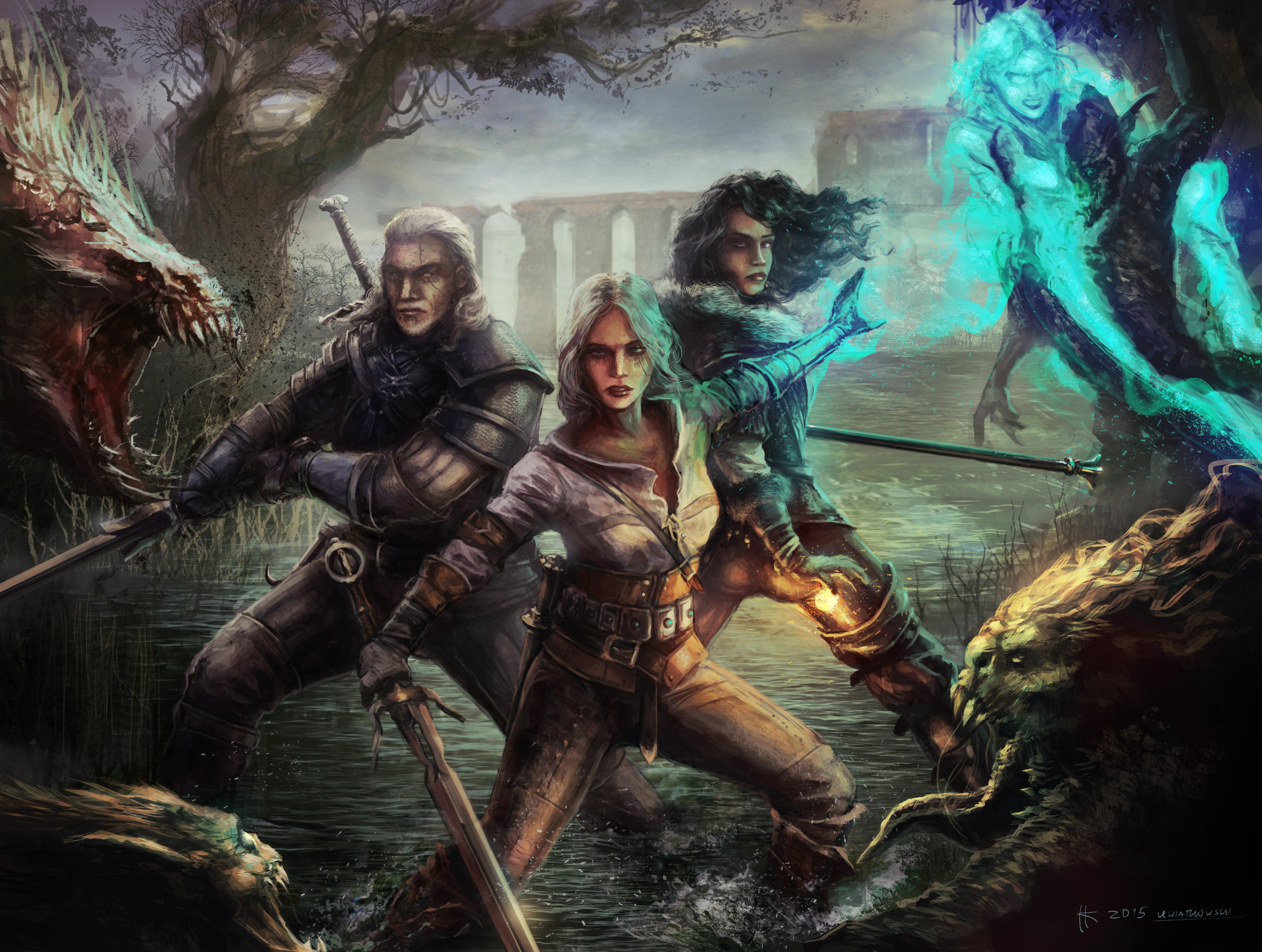 The Witcher 3 Wallpaper 4k: Witcher 3 Wild Hunt Geralt Yen And Ciri, HD Games, 4k
