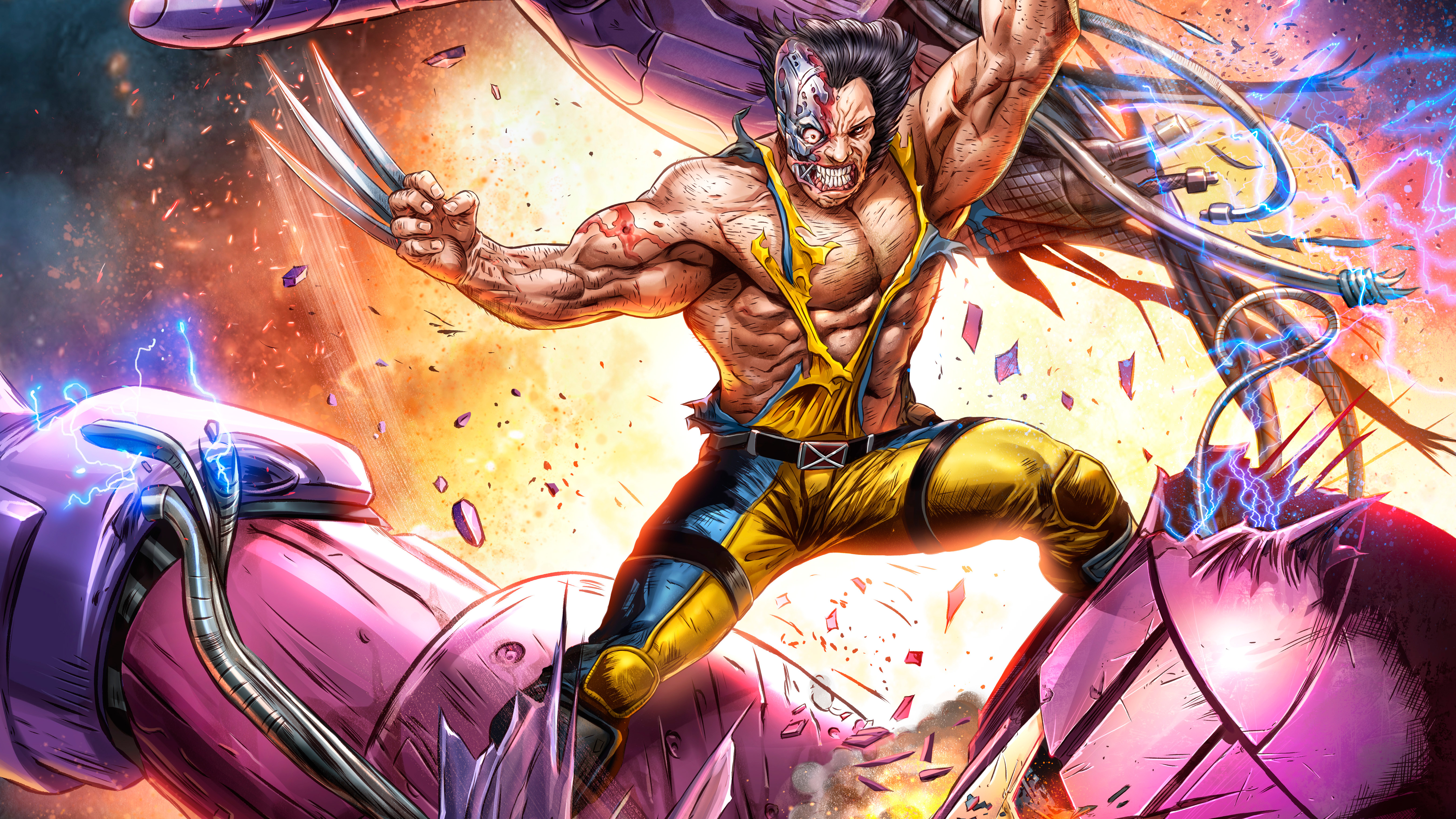 Wolverine vs sentinel artwork 5k hd superheroes 4k wallpapers images backgrounds photos and - Wallpaper wolverine 4k ...
