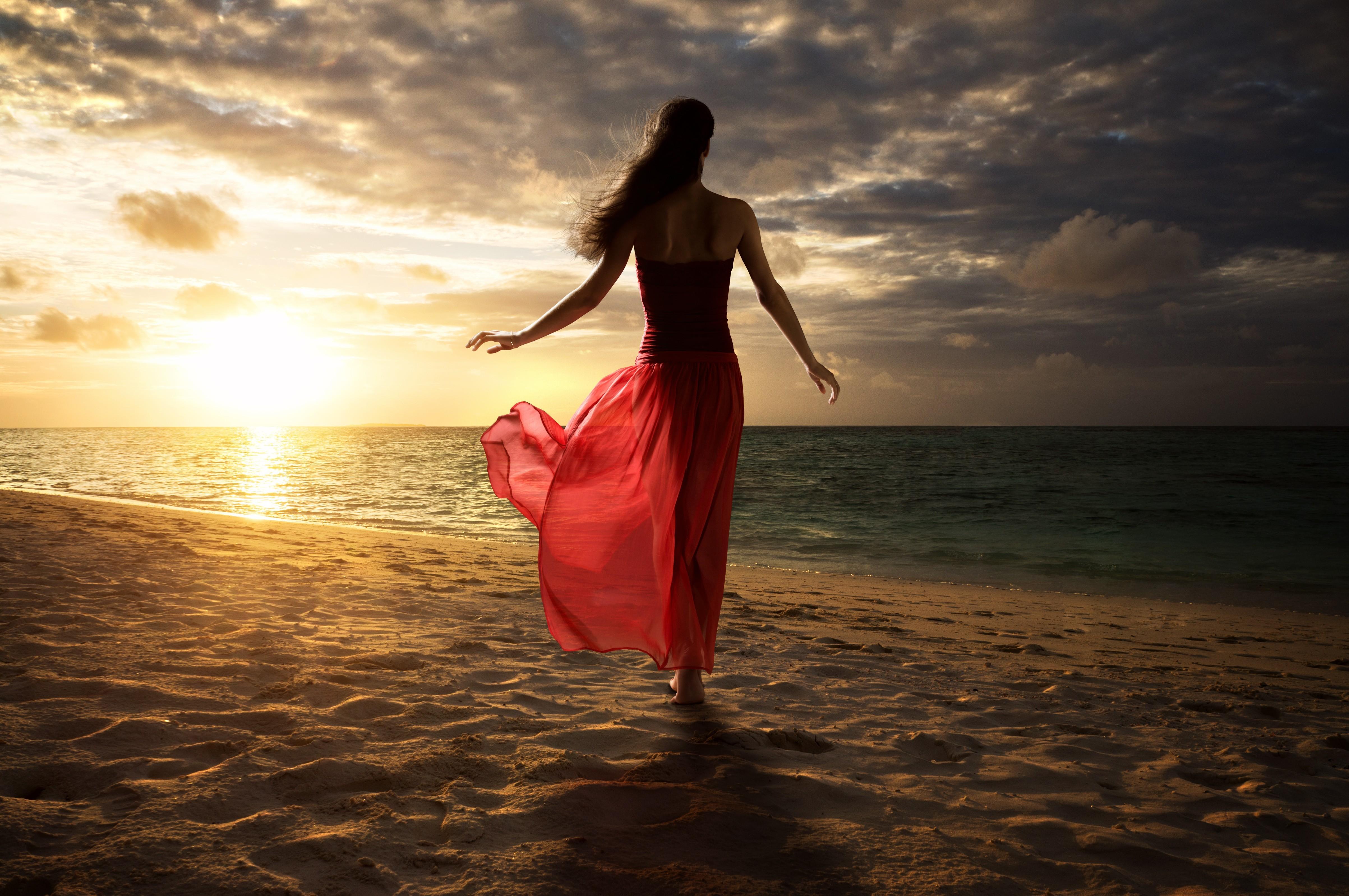 Women Beach Sand Walking Red Dress, HD Photography, 4k